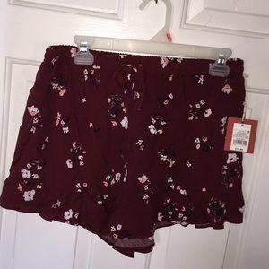 Maroon flowery shorts